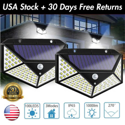 1 4PK 100 LED Solar LED Security Light HOME Commercial Outdoor IP67 Area Lamp