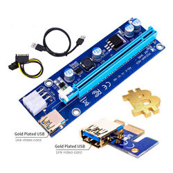 PCI E 1x to 16x Power USB3.0 GPU Extender Riser Adapter Card Cable Bitcoin 6PIN $10.59