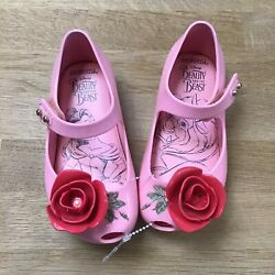 Mini Melissa Mini Disney Beauty and The Beast Flat Mary Jane Shoes Pink 7 $18.95