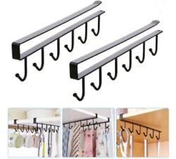 2 Pcs Under Shelf Coffee Cup Mug Holder Hanger Storage Rack Cabinet Hook Kitchen $10.49