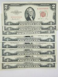1953 1963 Two Dollar Bill $2 Note Fancy Red Seal Old Paper US Currency Bill $8.99