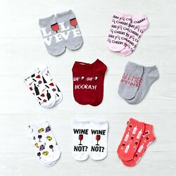 Novelty Low Cut Socks with Wine Theme for Women Sizes 9 11 $14.98