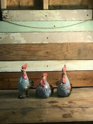 Set of Three Roosters Kitchen Decor Farmhouse Kitchen Roosters $68.00