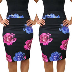 Women High Waist Floral Midi Pencil Skirt Bodycon Party Casual Office Lady Dress $11.01