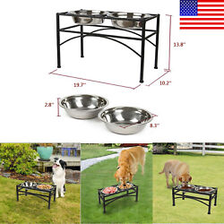 Large Black Double Elevated Raised Dog Pet Feeder Bowl Food Water Stand Tray $33.99