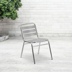 Aluminum Commercial Indoor Outdoor Armless Restaurant Stack Chair with Triple...