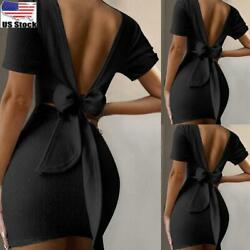 Women Sexy Backless Bodycon Mini Dress Ladies Evening Party Cocktail Dresses US $8.54