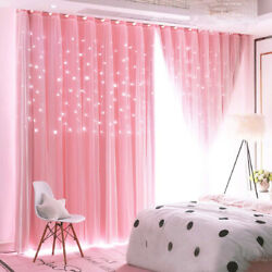 Stars Blackout Curtain for Bedroom Girls Kids Baby Window Curtain Double Layer $24.99