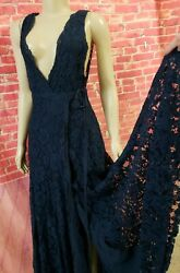 Reformation Wrap Style Long Women#x27;s Dress In Navy Size 2 USED ONCE B2 $99.00