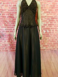 Scala Black Size M Sequined Formal Cocktail Women#x27;s Dress Evening Gown B7 $175.00