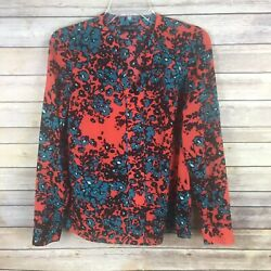 The Limited Women#x27;s Blouse XS Orange Blue Black Floral Long Sleeve $11.89