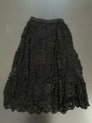 Lim#x27;s Vintage All Hand Crochet Maxi Length Skirt Color Black Size S Lined $68.00