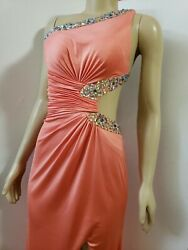 Clarisse Peach orange Prom Women#x27;s Dress Size 0 WORN ONCE one shoulder B1