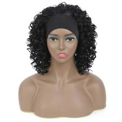 Black women#x27;s headband curly wig large stretch heat resistant fiber wig $17.49