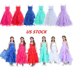 US Flower Girls Party Dresses Wedding Bridesmaid Princess Birthday Party Gown $25.65