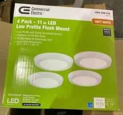 Commercial Electric 11 in. White Integrated LED Flush Mount 4 Pack
