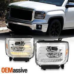 For 14 18 GMC Sierra FULL LED With Sequential Turn Chrome Projector Headlight $479.99