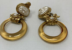 Rare French Vintage Gas Bijoux St Tropez Hoop And Pearl Earrings $72.00