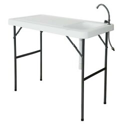 Portable Foldable Fish Cleaning Cutting Outdoor Camping Table with Sink Faucet $84.99
