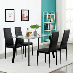 5 Piece Dining Table Sets Glass Metal 4 PU Leather Chairs Kitchen Room Furniture $228.00
