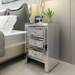 Mirrored End Table 3 Drawers Mirror Accent Side Table Silver Finished Nightstand $189.00