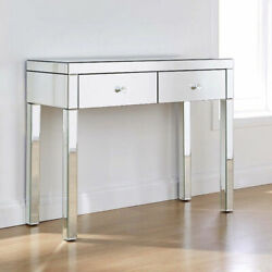 Modern Console Table Mirrored Vanity Table Makeup Desk Silver w 2 Drawers $219.00