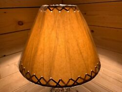 PAIR 2 ea. Rustic Oiled Kraft Laced Lamp Shades 14quot; $85.00