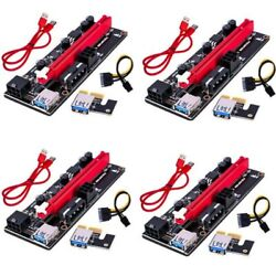 4 PACK VER009S PCI E Riser Card PCIe 1x to 16x USB 3.0 Data Cable Bitcoin Mining $32.90
