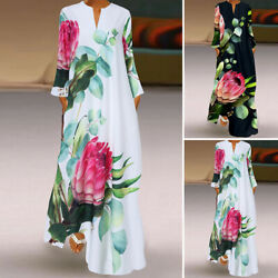 Women Retro Ethnic Casual Holiday Party Long Sleeve V Neck Maxi Shirt Dress Plus $16.91