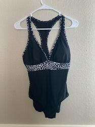 VM Swimsuit Bathing Women ze M Black White One Piece Racerback V cut Rockabilly $11.00