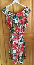 Established 1962 Colorful Floral Cocktail Sleeveless Pleated Dress Size 16 Belt $9.99