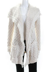 Angel Of The North Womens Long Sleee Open Fringe Cardigan White Size Small $32.99