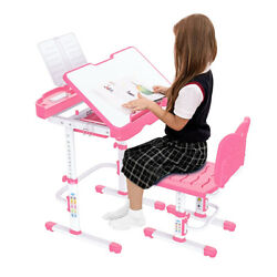 Student Desk and Chair Set Height Adjustable Children School Study Desk Pink $59.78