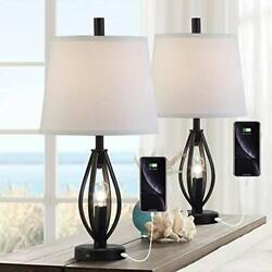 Modern Farmhouse Table Lamp Sets of 2 with 2 USB Ports Pulg in Industrial Nig... $164.15