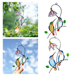 Cute Stained Hanging Panel Birds Decoration Gift 7quot;x5.5quot; $18.07