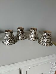 Set of 4 5quot; Leopard Animal Cheetah Spotted Print Clip On Chandelier Shades $29.99