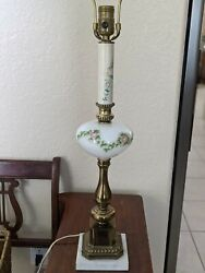 Antique Lamp Glass Bowl Brass Marble Base $100.00