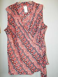 Cato Est. 1946 cross over front sleeveless top colorful Plus 18 20W $11.99