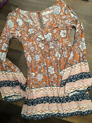Abercrombie and Fitch bohemian dress size xs floral women#x27;s bell sleeve $19.99