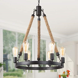 GEPOW Farmhouse Chandeliers Vintage Rope Round Pendant Chandelier Hanging Light $199.58