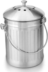 Stainless Steel Compost Bin 1.3 Gallon Indoor Compost Bucket for Kitchen Counter $35.61