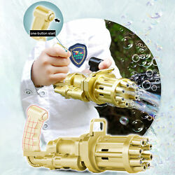 Kids Gatling Bubble Gun Toys Summer Automatic Soap Water Machine Indoor Outdoor $11.99