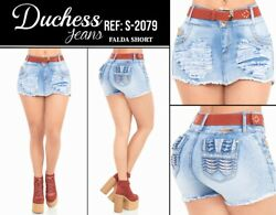DUCHESS SKIRT SHORT FALDA COLOMBIANOS COLOMBIAN PUSH UP JEANS LEVANTA COLA $59.99