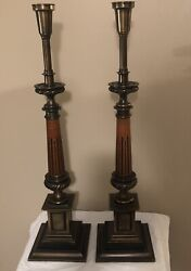 "Vintage Pair Mid Century Heavy Stiffel Brass Torchiere Table Lamps 32"" $95.75"