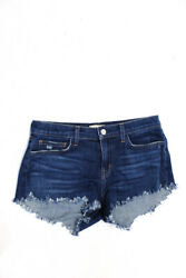 L#x27;Agence Womens Cut Off Denim Shorts Dark Blue Size 25 $39.99