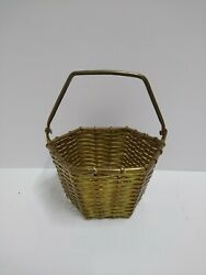 SOLID BRASS HEXAGON BASKET WITH FOLDING HANDLE MADE IN INDIA $14.00