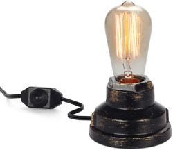 Vintage Table Lamp Industrial Wrought Iron Desk Lamp with Dimmer Switch Steampun $29.08