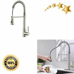Pull Down Kitchen Faucet Commercial Sprayer Sink Brushed Nickel Single Handle $94.82