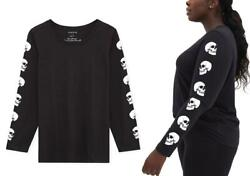 Torrid 4 4X26 Skull Tattoo Long Sleeve Punk Gothic Black Crew Graphic T shirt