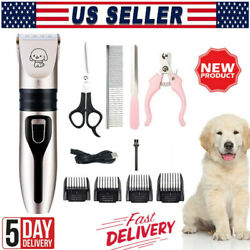 Electric Dog Cat Pet Hair Clipper Trimmer Grooming Kit Rechargeable Cordless Set $25.99